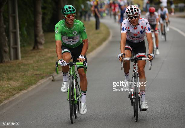 Rigoberto Uran of Columbia and Cannondale Drapac Professional Cycling Team and Warren Barguil of France and Team Sunweb in action during stage twenty...