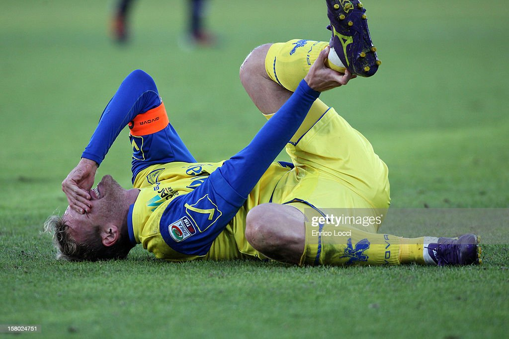 Rigoni Luca of Chievo sufferes an injury during the Serie A between Cagliari Calcio and AC Chievo Verona at Stadio Sant'Elia on December 9, 2012 in Cagliari, Italy.