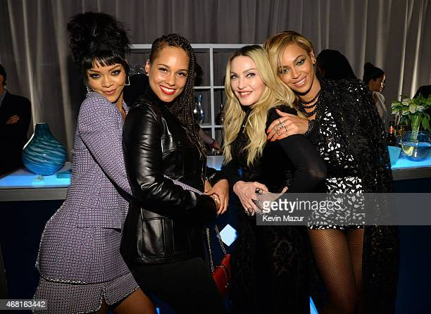 Rihanna Alicia Keys Madonna and Beyonce attend the Tidal launch event #TIDALforALL at Skylight at Moynihan Station on March 30 2015 in New York City