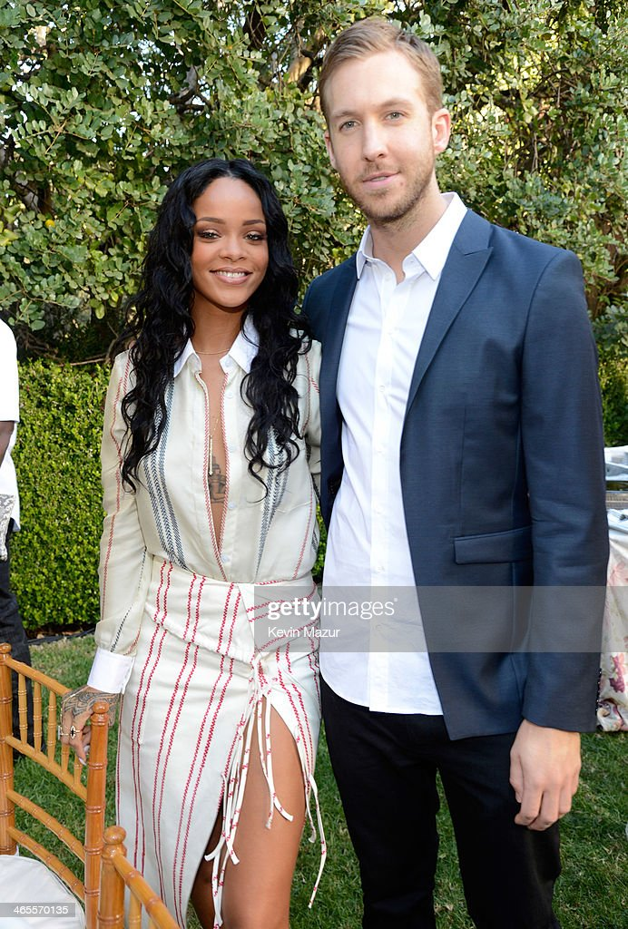 Rihanna and Calvin Harris attend the Roc Nation Pre-GRAMMY Brunch presented by MAC Viva Glam at Private Residence on January 25, 2014 in Beverly Hills, California.