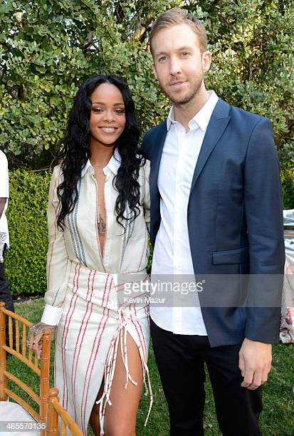 Rihanna and Calvin Harris attend the Roc Nation PreGRAMMY Brunch presented by MAC Viva Glam at Private Residence on January 25 2014 in Beverly Hills...