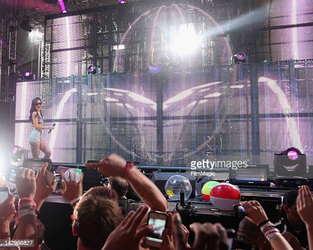 Rihanna and Calvin Harris perform 'We Found Love' during the 2012 Coachella Valley Music Arts Festival at The Empire Polo Club on April 15 2012 in...