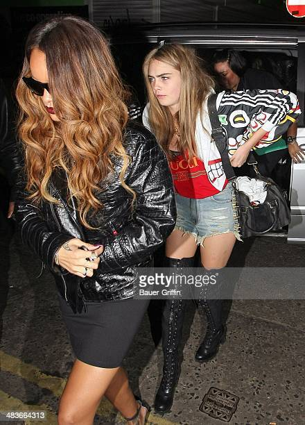 Rihanna and Cara Delevingne are seen arriving at the nighclub on February 17 2013 in London United Kingdom