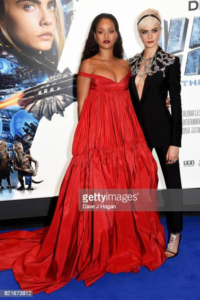 Rihanna and Cara Delevingne attend the European premiere of 'Valerian and The City of a Thousand Planets' at Cineworld London on July 24 2017 in...