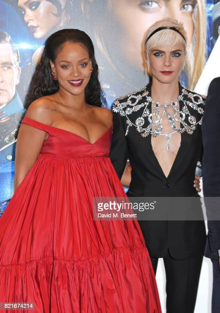 Rihanna and Cara Delevingne attend the European Premiere of 'Valerian And The City Of A Thousand Planets' at Cineworld Leicester Square on July 24...