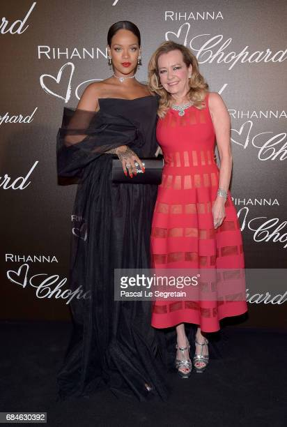 Rihanna and Caroline Scheufele attend the Chopard Dinner in honour of Rihanna and the Rihanna X Chopard Collection during the 70th annual Cannes Film...