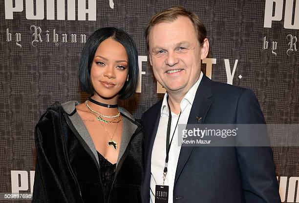 Rihanna and CEO of Puma Bjorn Gulden attend the FENTY PUMA by Rihanna AW16 Collection during Fall 2016 New York Fashion Week at 23 Wall Street on...