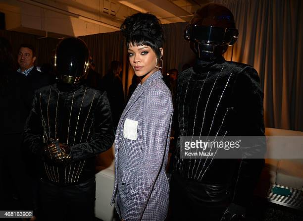 Rihanna and Daft Punk attend the Tidal launch event #TIDALforALL at Skylight at Moynihan Station on March 30 2015 in New York City