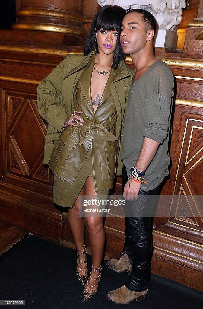 <a gi-track='captionPersonalityLinkClicked' href=/galleries/search?phrase=Rihanna&family=editorial&specificpeople=453439 ng-click='$event.stopPropagation()'>Rihanna</a> and designer Olivier Rousteing attend the Balmain show as part of the Paris Fashion Week Womenswear Fall/Winter 2014-2015 on February 27, 2014 in Paris, France.