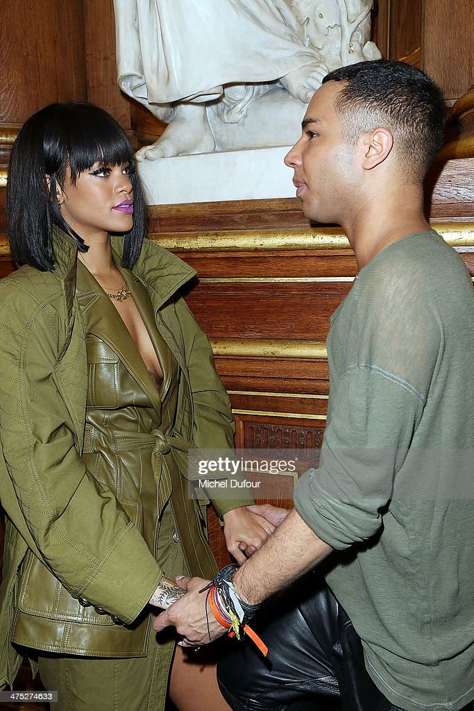 <a gi-track='captionPersonalityLinkClicked' href=/galleries/search?phrase=Rihanna&family=editorial&specificpeople=453439 ng-click='$event.stopPropagation()'>Rihanna</a> and designer Olivier Rousteing attends the Balmain show as part of the Paris Fashion Week Womenswear Fall/Winter 2014-2015 on February 27, 2014 in Paris, France.