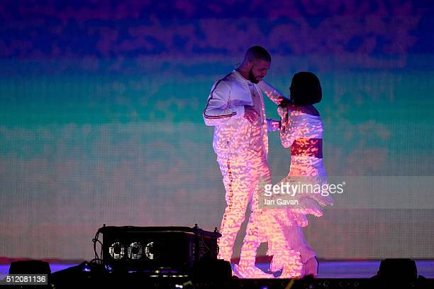 Rihanna and Drake perform on stage at the BRIT Awards 2016 at The O2 Arena on February 24 2016 in London England
