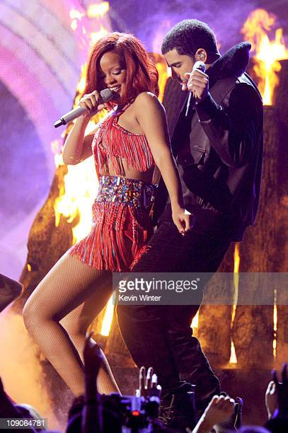 Rihanna and Drake perform onstage during The 53rd Annual GRAMMY Awards held at Staples Center on February 13 2011 in Los Angeles California