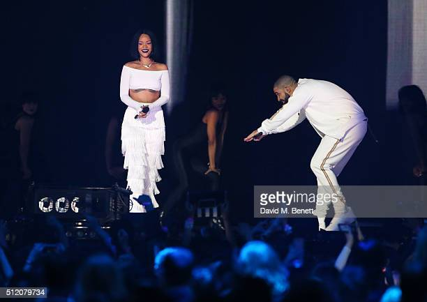 Rihanna and Drake perform together at the BRIT Awards 2016 at The O2 Arena on February 24 2016 in London England