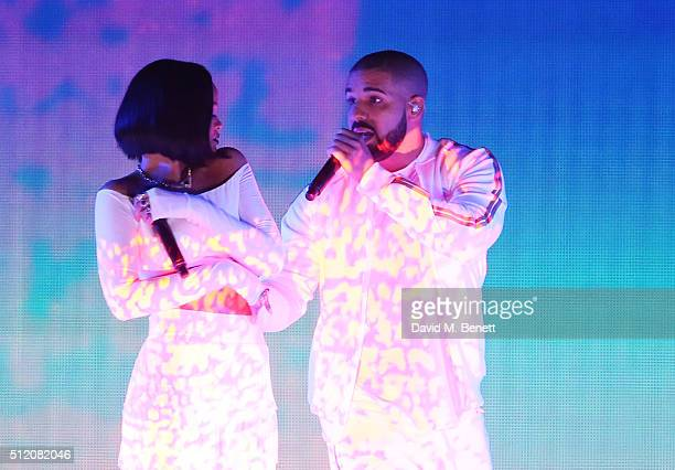 Rihanna and Drake performs at the BRIT Awards 2016 at The O2 Arena on February 24 2016 in London England