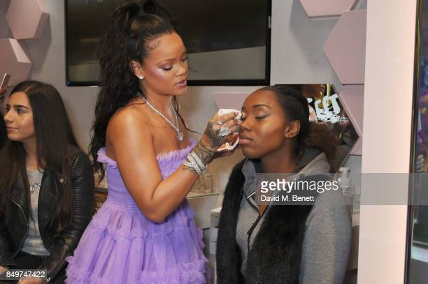 Rihanna and guest attend the Fenty Beauty x Harvey Nichols Launch at Harvey Nichols on September 19 2017 in London England