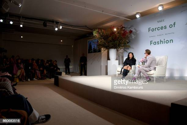 Rihanna and Hamish Bowles speak onstage during Vogue's Forces of Fashion Conference at Milk Studios on October 12 2017 in New York City