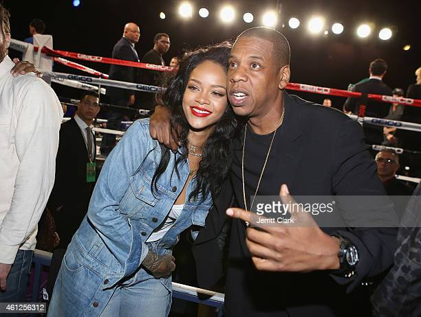 Rihanna and Jay Z attend 2015 Throne Boxing Fight Night at The Theater at Madison Square Garden on January 9 2015 in New York City