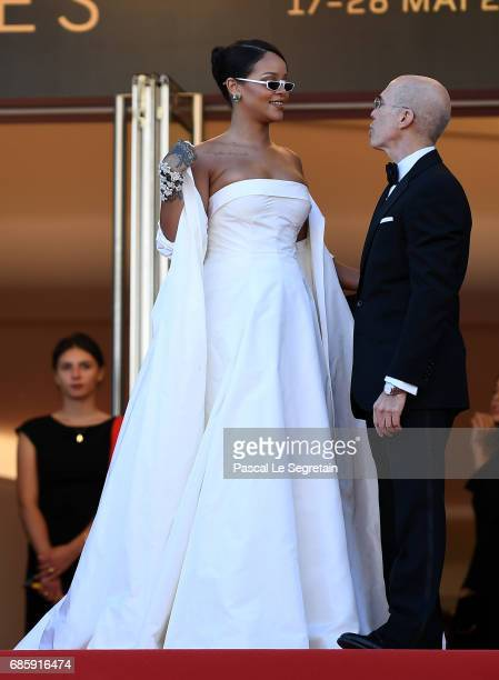 Rihanna and Jeffrey Katzenberg attend the 'Okja' screening during the 70th annual Cannes Film Festival at Palais des Festivals on May 19 2017 in...