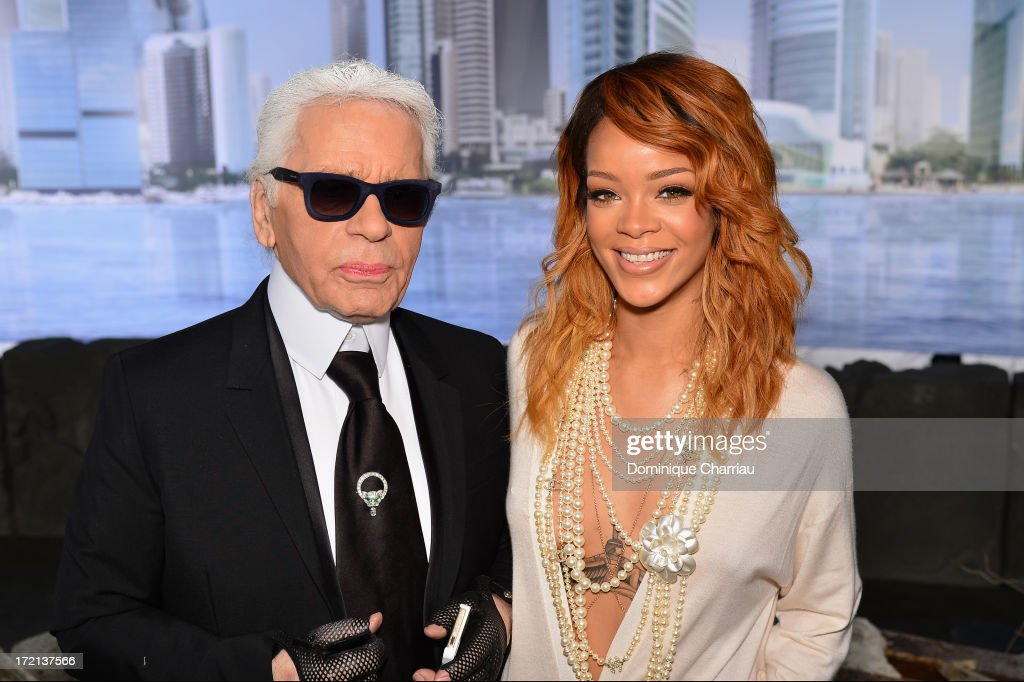<a gi-track='captionPersonalityLinkClicked' href=/galleries/search?phrase=Rihanna&family=editorial&specificpeople=453439 ng-click='$event.stopPropagation()'>Rihanna</a> and Karl Lagerfeld attend the Chanel show as part of Paris Fashion Week Haute Couture Fall/Winter 2013-2014 at Grand Palais on July 2, 2013 in Paris, France.