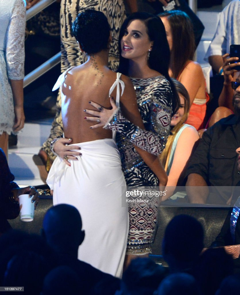 Rihanna and Katy Perry during the 2012 MTV Video Music Awards at Staples Center on September 6, 2012 in Los Angeles, California.