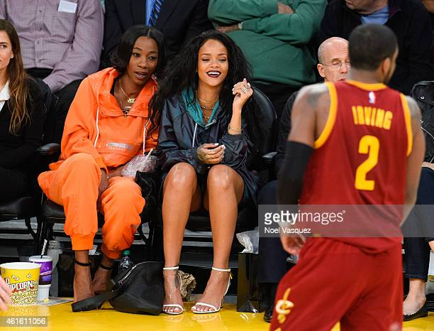 Rihanna and Melissa Forde attend a basketball game between the Cleveland Cavaliers and the Los Angeles Lakers at Staples Center on January 15 2015 in...