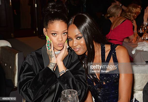 Rihanna and Naomi Campbell attend the British Fashion Awards at the London Coliseum on December 1 2014 in London England