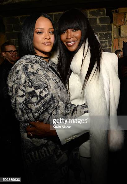 Rihanna and Naomi Campbell attend the FENTY PUMA by Rihanna AW16 Collection during Fall 2016 New York Fashion Week at 23 Wall Street on February 12...