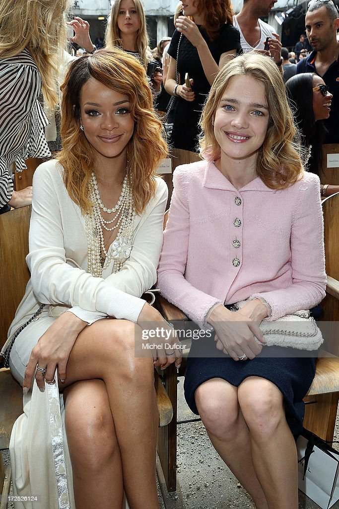 Rihanna and Natalia Vodianova attend the Chanel show as part of Paris Fashion Week Haute-Couture Fall/Winter 2013-2014 at Grand Palais on July 2, 2013 in Paris, France.