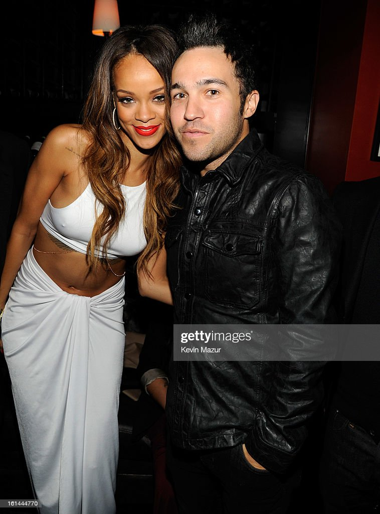 RIhanna and <a gi-track='captionPersonalityLinkClicked' href=/galleries/search?phrase=Pete+Wentz&family=editorial&specificpeople=595892 ng-click='$event.stopPropagation()'>Pete Wentz</a> attend the Island Def Jam Grammy Party Sponsored By Samsung And Pepsi at Osteria Mozza on February 10, 2013 in Los Angeles, California.