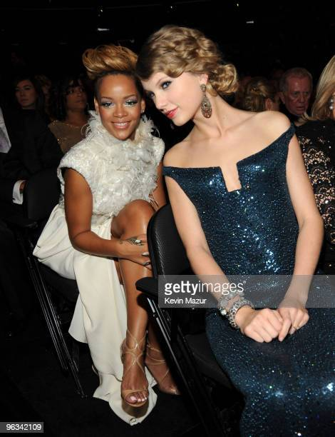 Rihanna and Taylor Swift attends the 52nd Annual GRAMMY Awards held at Staples Center on January 31 2010 in Los Angeles California