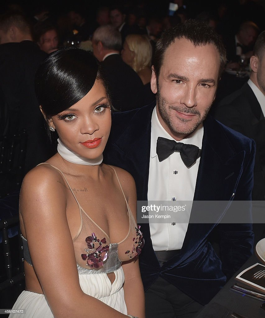 Rihanna and Tom Ford attend the amfAR Inspiration Gala honoring Tom Ford at Milk Studios on October 29, 2014 in Hollywood, California.