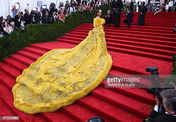 Rihanna arrives at the 2015 Metropolitan Museum of Art's Costume Institute Gala benefit in honor of the museums latest exhibit China Through the...