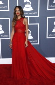 Rihanna arrives at the 55th Annual Grammy Awards at the Staples Center on February 10 2013 in Los Angeles California