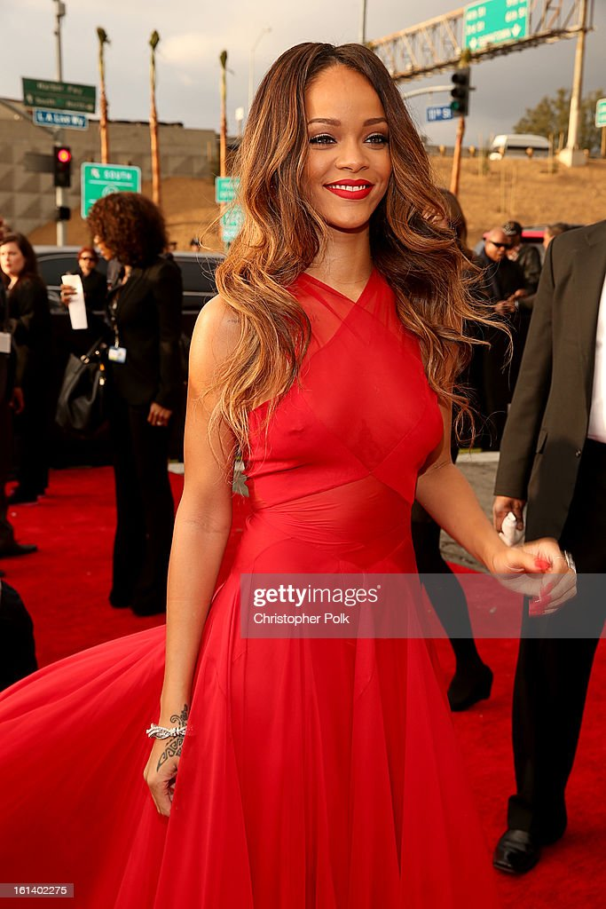 <a gi-track='captionPersonalityLinkClicked' href=/galleries/search?phrase=Rihanna&family=editorial&specificpeople=453439 ng-click='$event.stopPropagation()'>Rihanna</a> arrives at the 55th Annual GRAMMY Awards on February 10, 2013 in Los Angeles, California.