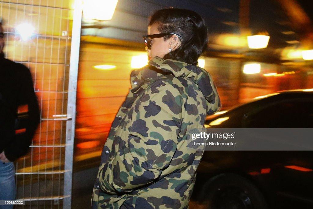 Rihanna arrives at the after party for Chris Brown's concert in Stuttgart at Disco La Boom on November 23, 2012 in Heilbronn, Baden-Wuerttemberg.