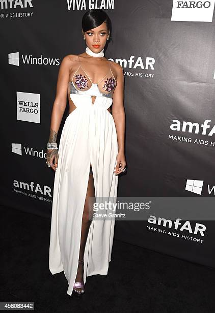 Rihanna arrives at the amfAR LA Inspiration Gala Honoring Tom Ford Hosted By Gwyneth Paltrow at Milk Studios on October 29 2014 in Hollywood...