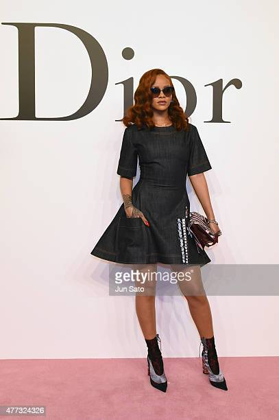 Rihanna arrives at the Christian Dior TOKYO Autumn/Winter 201516 ReadyToWear Show at The National Art Center Tokyo on June 16 2015 in Tokyo Japan