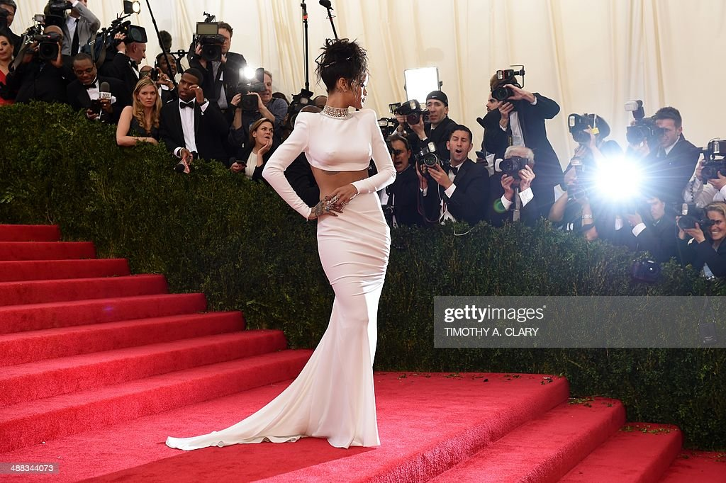<a gi-track='captionPersonalityLinkClicked' href=/galleries/search?phrase=Rihanna&family=editorial&specificpeople=453439 ng-click='$event.stopPropagation()'>Rihanna</a> arrives at the Costume Institute Benefit at The Metropolitan Museum of Art May 5, 2014 in New York. AFP PHOTO/Timothy A. CLARY