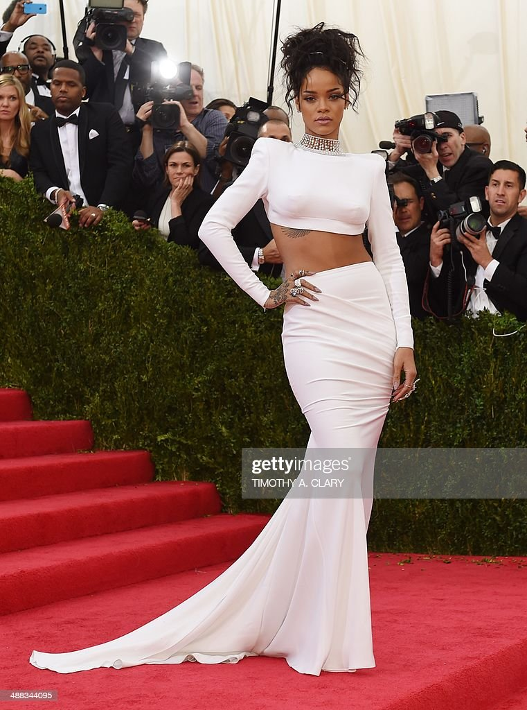 Rihanna arrives at the Costume Institute Benefit at The Metropolitan Museum of Art May 5, 2014 in New York. AFP PHOTO/Timothy A. CLARY