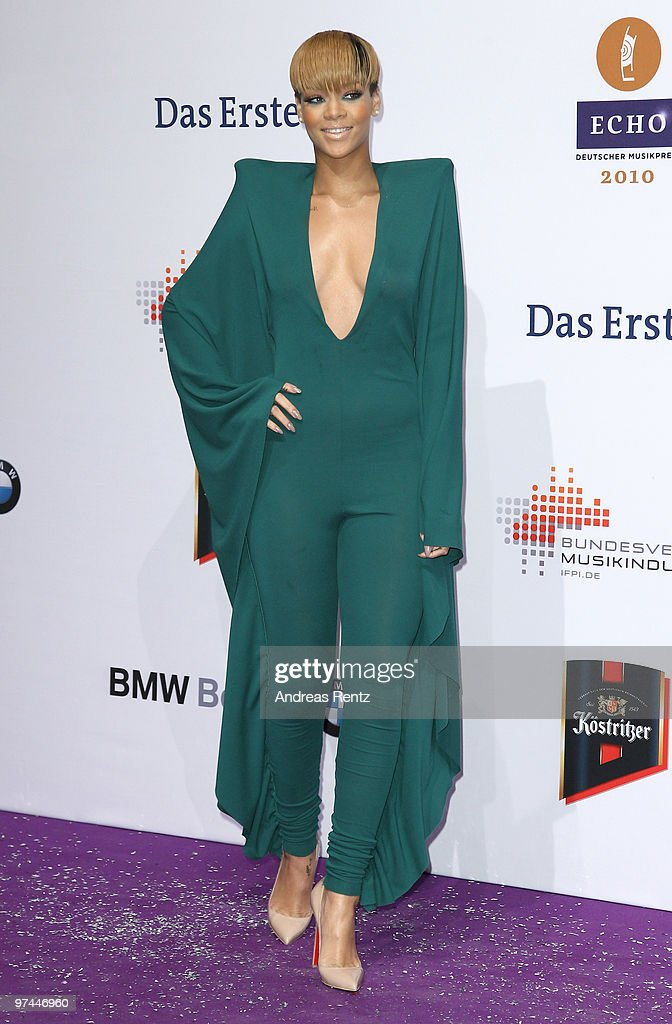 Rihanna arrives at the Echo award 2010 at Messe Berlin on March 4, 2010 in Berlin, Germany.
