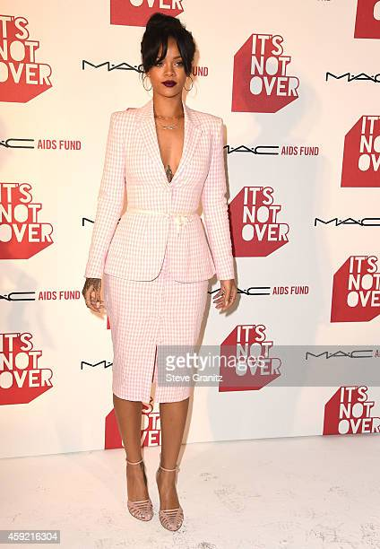 Rihanna arrives at the MAC Cosmetics And The MAC AIDS Fund Present Worldwide Premiere Of 'It's Not Over' at Quixote Studios on November 18 2014 in...