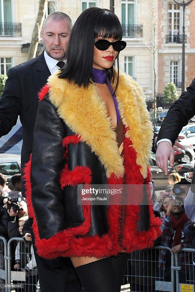 Rihanna arrives at the Miu Miu show as part of the Paris Fashion Week Womenswear Fall/Winter 2014-2015 on March 5, 2014 in Paris, France.