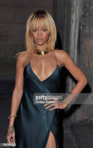 Rihanna arrives at the Stella McCartney Autumn/Winter 2012 presentation during London Fashion Week at North Audley Street on February 18 2012 in...
