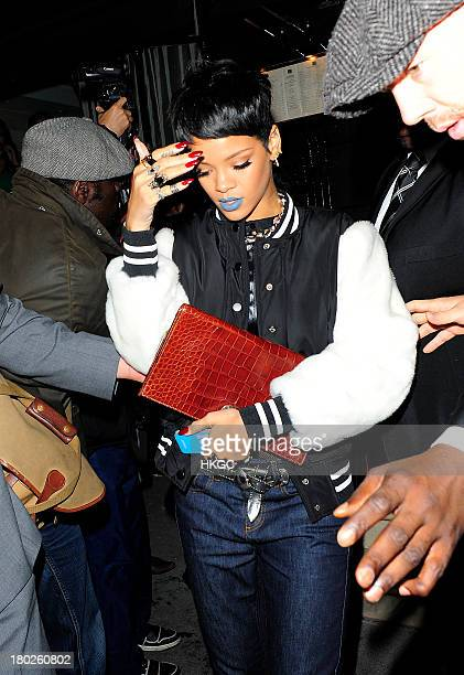 Rihanna arrives for dinner with Cara Delevingne at Nozomi restaurant in Knightsbridge on September 10 2013 in London England