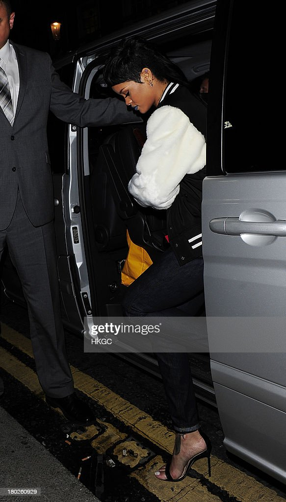 Rihanna arrives for dinner with Cara Delevingne at Nozomi restaurant in Knightsbridge. on September 10, 2013 in London, England.