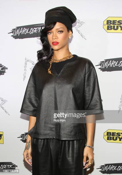 Rihanna arrives for her 'Unapologetic' record release fan meet and greet at Best Buy Theater on November 20 2012 in New York City