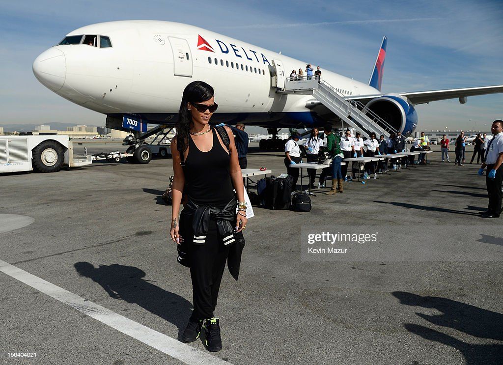 Rihanna arrives on the plane to her first stop on the 777 tour on November 14, 2012. Rihanna's 777 Tour - 7 countries, 7 days, 7 shows in celebration of the November 19, 2012 release of 'Unapologetic.'
