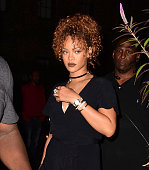 Rihanna arrives to Spotted Pig to meet with Travis Scott on September 7 2015 in New York City