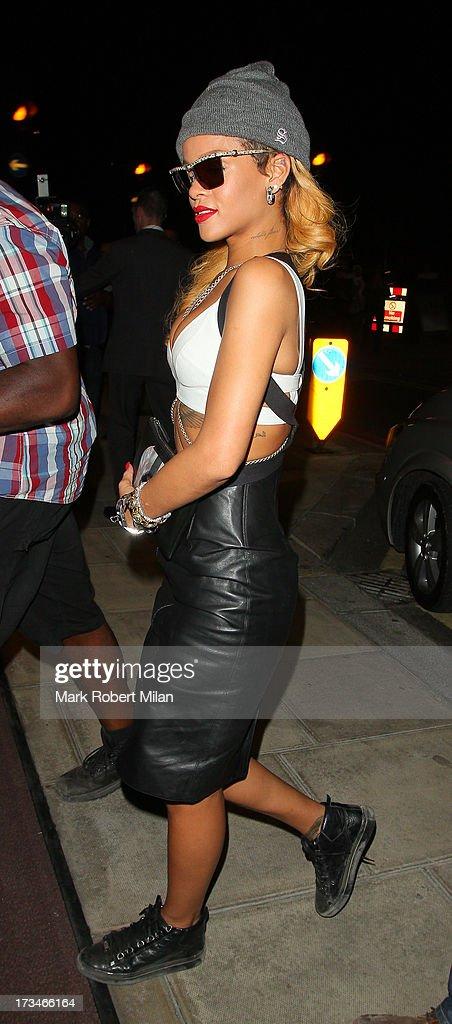 Rihanna arriving at 45 Park Lane on July 14, 2013 in London, England.