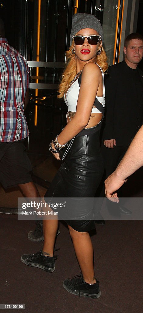 <a gi-track='captionPersonalityLinkClicked' href=/galleries/search?phrase=Rihanna&family=editorial&specificpeople=453439 ng-click='$event.stopPropagation()'>Rihanna</a> arriving at 45 Park Lane on July 14, 2013 in London, England.